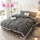 Bedding Set / four piece set / multi piece set cotton other Geometric pattern 80*80 Happiness posture cotton 4 pieces 32 Bed skirt - black and white Bed sheet type, bed cover type, bed skirt type, bed cover type Qualified products Princess style 100% cotton twill Reactive Print  MTZ-sjt17032302