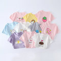 T-shirt Pink mouse, pink milk strawberry, white crown, gray elephant, pink strawberry, yellow rainbow, white dog, pink rabbit, blue cake rabbit, purple sun, white elephant Other / other 80, 90, 100, 110, 120 female summer Short sleeve Crew neck Korean version No model nothing cotton other Other 100%