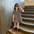 Dress grey female Pistil red 110cm (model photo size), 120cm, 130cm, 140cm, 150cm, 160cm Cotton 100% summer college Short sleeve Solid color cotton Pleats Class B Six, seven, eight, nine, ten, eleven, twelve, thirteen, fourteen Chinese Mainland Zhejiang Province Taizhou City