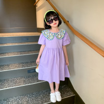 Dress violet female Pistil red 110cm (model photo size), 120cm, 130cm, 140cm, 150cm, 160cm Cotton 100% summer lady Short sleeve other cotton Lantern skirt Class B Six, seven, eight, nine, ten, eleven, twelve, thirteen, fourteen Chinese Mainland Zhejiang Province Taizhou City