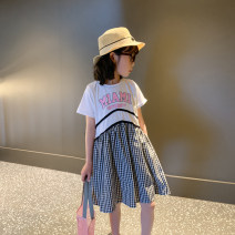 Dress White with black and white female Pistil red 110cm (model photo size), 120cm, 130cm, 140cm, 150cm, 160cm Cotton 100% summer leisure time Short sleeve other cotton A-line skirt Class B Six, seven, eight, nine, ten, eleven, twelve, thirteen, fourteen Chinese Mainland Zhejiang Province
