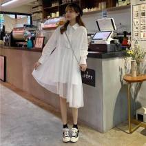 Dress Winter 2016 white S,M,L,XL,2XL Mid length dress singleton  Long sleeves Other / other Panel, button, solid color
