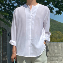 shirt Youth fashion Others M, L white , grey , black , Beige , Carbon color , Navy Blue routine square neck Long sleeves easy Other leisure spring
