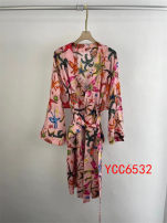 Dress Spring 2021 Pink S,M,L Mid length dress singleton  Long sleeves commute V-neck Loose waist Decor other A-line skirt routine 25-29 years old Type A printing More than 95%