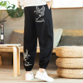 Casual pants Others Youth fashion Black, Navy, Burgundy, bluish grey M,L,XL,2XL,3XL,4XL,5XL routine trousers Other leisure easy No bullet K34 Four seasons youth Chinese style middle-waisted Little feet Haren pants Embroidery No iron treatment Animal design cotton Cotton and hemp Non brand