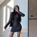 Dress Autumn 2020 Blue, purple, black, white, khaki, dark grey XS,S,M Short skirt singleton  Long sleeves Hood 18-24 years old