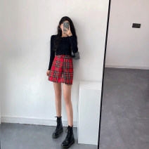 skirt Autumn of 2019 S,M,L Red, green Short skirt High waist lattice other Other / other