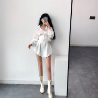 Dress Autumn of 2019 White waist cover, white dress S,M,L Short skirt Two piece set Long sleeves High waist Solid color Single breasted Other / other