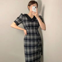 Dress Spring 2021 Black, brown S,M,L longuette singleton  Short sleeve commute High waist lattice Socket A-line skirt routine Others 18-24 years old Type A Other / other Korean version