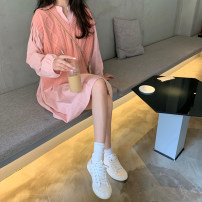 shirt S,M,L,XL Autumn of 2019 cotton 96% and above Long sleeves commute Medium length Crew neck Socket routine Solid color 18-24 years old Straight cylinder Other / other Korean version