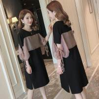 Dress Summer 2021 black M,L,XL,2XL,3XL,4XL Middle-skirt singleton  Short sleeve commute Crew neck Loose waist other Socket other routine Others Type H Korean version Lace up, stitching, mesh 71% (inclusive) - 80% (inclusive) Chiffon cotton