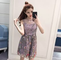 Dress Summer 2021 XS,S,M,L,XL Short skirt singleton  Sleeveless Sweet Crew neck middle-waisted Decor Socket A-line skirt camisole 18-24 years old Type A organza  Ruili