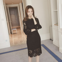 Dress Autumn of 2019 White, black S,M,L,XL,2XL,3XL Mid length dress singleton  Long sleeves commute Crew neck middle-waisted Solid color Socket A-line skirt puff sleeve Type A Emelin / Irene Korean version Cut out, lace 71% (inclusive) - 80% (inclusive) Lace