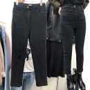 Women's large Autumn 2020, spring 2021 Black nines, black trousers, black nines with velvet, black trousers with velvet Jeans singleton  commute Straight cylinder moderate Solid color Korean version Denim Three dimensional cutting 25-29 years old pocket 81% (inclusive) - 90% (inclusive) Ninth pants
