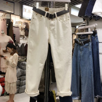 Women's large Autumn 2020, spring 2021 Off white Jeans commute easy moderate Korean version Denim Three dimensional cutting pocket Ninth pants 121g / m ^ 2 (including) - 140g / m ^ 2 (including) Contains (9 oz) - 11 oz