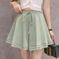 Casual pants White, black, khaki, bean green M,L,XL Spring 2020 shorts Wide leg pants High waist Thin money