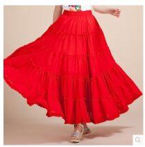 skirt Summer 2021 One size fits all longuette Retro Splicing style Solid color 71% (inclusive) - 80% (inclusive) cotton Splicing