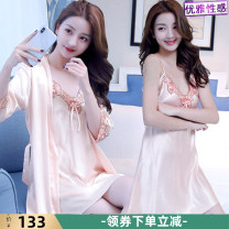 Pajamas / housewear set female Other / other Iced silk Long sleeves sexy pajamas summer Thin money V-neck Solid color youth 2 pieces 81% (inclusive) - 95% (inclusive) silk Hollowing out 200g and below Middle-skirt