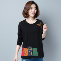 T-shirt Red, green, black, khaki M,L,XL,2XL,3XL,4XL Autumn 2020 Long sleeves Crew neck easy have cash less than that is registered in the accounts other commute cotton 96% and above 40-49 years old ethnic style classic Letters, solid color Asymmetric, stitching, embroidery, patching