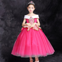 Dress female Xi Mengzi Cotton 67% polyester 33% No season princess Skirt / vest Solid color polyester fiber Cake skirt Class B 2, 3, 4, 5, 6, 7, 8, 9, 10, 11, 12 years old