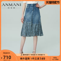 skirt Spring 2021 S M L XL blue Mid length dress Sweet Natural waist Splicing style Type A 25-29 years old EANBAA08 More than 95% Anmani / enmanlin other Patchwork printing Other 100% Same model in shopping mall (sold online and offline) Countryside