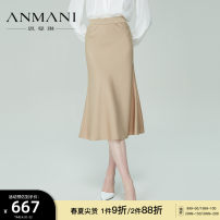 skirt Spring 2021 S M L XL Khaki Mid length dress commute High waist Solid color Type X 25-29 years old EANBAG53 More than 95% Anmani / enmanlin other Ol style Other 100% Same model in shopping mall (sold online and offline)