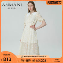 Dress Spring 2021 Pale yellow S M L XL Mid length dress elbow sleeve Sweet square neck High waist Broken flowers zipper bishop sleeve 25-29 years old Type X Emmanuel Diamond lace printing EANBAG52 More than 95% polyester fiber Polyester 100% Countryside