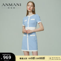 Dress Spring 2021 Glacier blue (pre-sale 10 days) salmon orange S M L XL Short skirt singleton  Short sleeve commute Crew neck High waist Socket routine 25-29 years old Type X Emmanuel Simplicity Button EANBBA16 More than 95% other Other 100% Same model in shopping mall (sold online and offline)