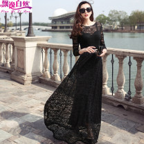 Dress Spring 2021 M,L,XL,2XL,3XL longuette singleton  Long sleeves commute Crew neck middle-waisted Solid color Socket Big swing routine 25-29 years old Type A Ol style zipper More than 95% Lace other