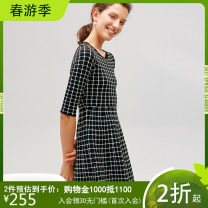 Dress Spring 2017 White check black and white check S M L XL Middle-skirt singleton  elbow sleeve commute Crew neck lattice Socket A-line skirt routine Others 30-34 years old Hong beiti Ol style L7K1031 31% (inclusive) - 50% (inclusive) nylon Viscose (viscose) 52.2% polyamide (nylon) 47.8%