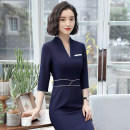 Professional dress suit S M L XL XXL XXXL 4XL Black dress blue dress Summer of 2018 three quarter sleeve QC-KY1806 Other styles Suit skirt 25-35 years old See sunny / Qin Chen Polyester 95% polyurethane elastic fiber (spandex) 5% Pure e-commerce (online only)