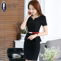 Dress Summer 2016 S M L XL XXL XXXL 4XL Middle-skirt Fake two pieces Short sleeve commute Crew neck middle-waisted Solid color zipper Ruffle Skirt routine 25-29 years old Type H See sunny / Qin Chen Ol style Ruffle zipper More than 95% polyester fiber Pure e-commerce (online only)