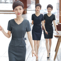 Professional dress suit S M L XL XXL XXXL 4XL Grey Stripe Short Sleeve Dress Black Stripe short sleeve dress blue stripe Short Sleeve Dress Summer of 2018 Short sleeve QC-YR5012 Other styles other 25-35 years old See sunny / Qin Chen Polyester 95% polyurethane elastic fiber (spandex) 5%