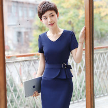 Dress Summer of 2018 Black dress blue dress S M L XL XXL XXXL 4XL 5XL Short skirt Fake two pieces Short sleeve commute V-neck High waist Solid color zipper other routine Others 25-29 years old See sunny / Qin Chen Ol style Stitching zipper QC-YR5015 More than 95% other polyester fiber