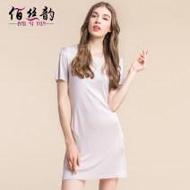 Nightdress Bai Siyun Black, white, beige, silver grey 160(M),165(L),170(XL),175(XXL) Simplicity Short sleeve Leisure home longuette summer Solid color middle age Crew neck silk silk BSY7039