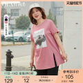 Women's large Summer 2021 Pink Black Pink Lavender black Lavender XL 2XL 3XL 4XL 5XL 6XL T-shirt singleton  commute easy moderate Socket Short sleeve Korean version Crew neck Medium length other Three dimensional cutting QLXQG1294CJF Delicate and beautiful 25-29 years old Other 100%