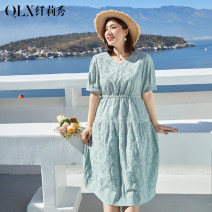 Dress Delicate and beautiful Light green [pre-sale March 31 delivery] Navy [pre-sale March 31 delivery] Large XL Large 2XL large 3XL large 4XL large 5XL large 6xl leisure time Short sleeve Medium length summer V-neck Solid color QLXQG0383BOY