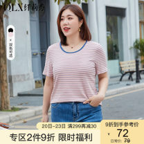 Women's large Spring 2021 Pink pink black black XL 2XL 3XL 4XL 5XL 6XL T-shirt singleton  commute Self cultivation moderate Socket Short sleeve stripe Korean version Crew neck routine other Three dimensional cutting QLXQG1286EDJ Delicate and beautiful 25-29 years old 71% (inclusive) - 80% (inclusive)