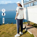 Women's large Summer 2021 Off white off white- XL 2XL 3XL 4XL 5XL 6XL Two piece set commute easy moderate Korean version Crew neck routine cotton Three dimensional cutting QLXQG0440JOI Delicate and beautiful 25-29 years old pocket 96% and above Other 100% Pure e-commerce (online only) trousers