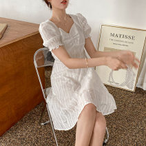 Dress Summer 2021 White short, white long M code, s code Mid length dress singleton  Short sleeve square neck High waist other Socket A-line skirt puff sleeve Others 18-24 years old Appivi / huaxiwei Embroidery other