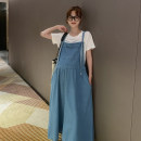 Dress Other / other Blue strap skirt, blue strap skirt + white T-shirt Average size Korean version Sleeveless have more cash than can be accounted for summer square neck Solid color Denim