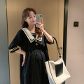 Dress Other / other black Average size Korean version elbow sleeve Medium length spring other Solid color Chiffon