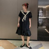 Dress Other / other L,XL,XXL Korean version Short sleeve Medium length summer Crew neck Solid color