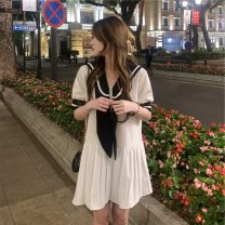 Women's large Summer 2021 Black, white M [100 Jin recommended], l [100-115 Jin recommended], XL [115-135 Jin recommended], 2XL [135-150 Jin recommended], 3XL [150-170 Jin recommended], 4XL [170-190 Jin recommended] Sweater / sweater singleton  Sweet Straight cylinder moderate Conjoined Short sleeve