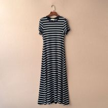 Dress Summer of 2019 Black, blue and white, black and white, wide black and white M weighs 85-105 Jin, l weighs 105-125 Jin, XL weighs 125-140 Jin, XL weighs 145-165 Jin longuette singleton  Short sleeve street Crew neck Elastic waist stripe Socket Big swing routine 18-24 years old Type A cotton