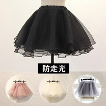 skirt Autumn 2016 One size fits all (with safety pants) Gray, black, off white, lotus root pink Short skirt Sweet High waist Fluffy skirt Solid color Type A 18-24 years old nylon Flounce, fold, Auricularia auricula, thread, wave, gauze net, splicing princess