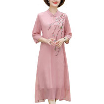 Middle aged and old women's wear Summer 2021 Pink, blue, light blue, white XL,2XL,3XL,4XL fashion Dress easy singleton  Solid color 40-49 years old Socket thin Crew neck Medium length routine Embroidery Polyester, chiffon Single breasted longuette Chiffon other
