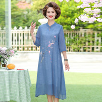 Middle aged and old women's wear Summer 2021 Blue, white, pink, light blue XL,2XL,3XL,4XL fashion suit easy singleton  Solid color 40-49 years old Cardigan thin Polo collar routine Embroidery Chiffon, others, polyester 96% and above A button longuette other
