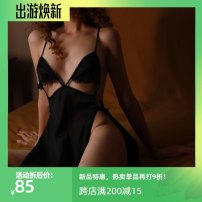 Nightdress Other / other black M, L sexy camisole pajamas Short skirt Solid color youth V-neck Hollowing out polyester fiber 200g and below
