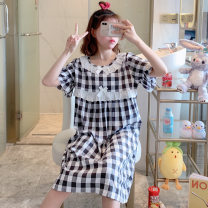 Nightdress Huizi family one hundred and sixty ( M ), one hundred and sixty-five ( L ), one hundred and seventy ( XL ), one hundred and seventy-five ( XXL ), A gift for the exclusive collection Sweet Short sleeve pajamas longuette summer lattice youth Crew neck cotton bow Woven cotton fabric